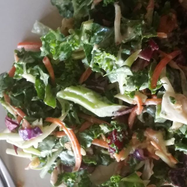 Just a bagged salad but sooooooo good tonight! Kale cranberries tangy dijon yum!