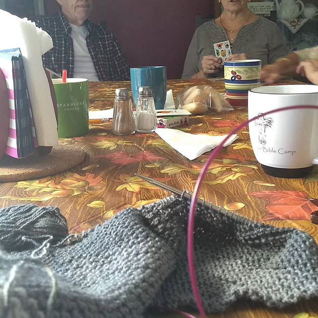 Knitting and watching a game of Euchre